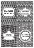 Set vector template with seamless swatches in retro style for packaging Royalty Free Stock Photo