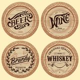 Set vector template wooden barrels for alcoholic beverages Stock Image