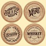 Set vector template wooden barrels for alcoholic beverages Stock Image