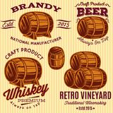 Set of vector templates with colored barrels for spirits.  Royalty Free Stock Photography
