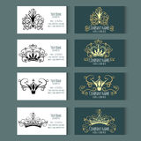 Set of vector templates for corporate style. Set of templates for business cards with Crowns. Corporate style. Vector illustration Royalty Free Stock Photography