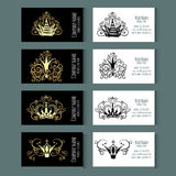 Set of vector templates for corporate style. Set of templates for business cards with Crowns. Corporate style. Vector illustration Stock Image