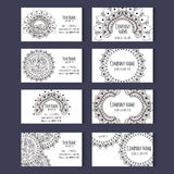 Set of vector templates for corporate style. Set of templates for business cards or invitation cards with floral ornament. Corporate style. Vector illustration Stock Images