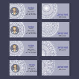 Set of vector templates for corporate style. Set of templates for business cards or invitation cards with floral round ornament. Corporate style. Vector Stock Photo