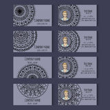 Set of vector templates for corporate style. Set of templates for business cards or invitation cards with floral round ornament. Corporate style. Vector Stock Photography