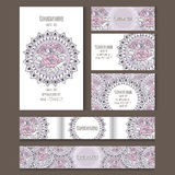 Set of vector templates for corporate style. Set of templates for notebooks, cards, business cards and invitation card with floral ornament. Corporate style Royalty Free Stock Images