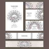 Set of vector templates for corporate style. Set of templates for notebooks, cards, business cards and invitation card with floral ornament. Corporate style Stock Photo