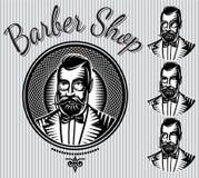 Set of vector templates for hairdresser gentlemen or men club Royalty Free Stock Photo