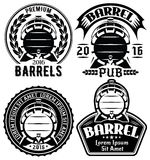 Set of vector templates for label or menu with barrels and barley Royalty Free Stock Photography