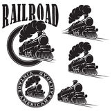 Set of vector templates with locomotive, vintage train Stock Photo