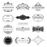Set of vector templates. Set of 12 vector templates for logos and icons on the theme of quality in vintage style. Collection certificates elements Royalty Free Stock Image