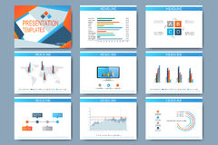 Set of vector templates for multipurpose presentation slides. Modern business design with graph and charts Royalty Free Stock Photo