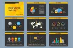 Set of vector templates for multipurpose presentation slides. Modern business design with graph and charts Royalty Free Stock Images