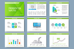 Set of vector templates for multipurpose presentation slides. Modern business design with graph and charts Stock Photography