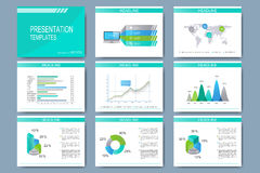 Set of vector templates for multipurpose presentation slides. Modern business design with graph and charts Stock Photo