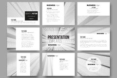 Set of 9 vector templates for presentation slides. Abstract lines background, simple abstract monochrome texture Stock Photos