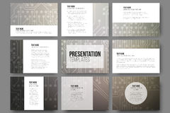Set of 9 vector templates for presentation slides Stock Images