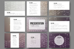 Set of 9 vector templates for presentation slides Royalty Free Stock Image