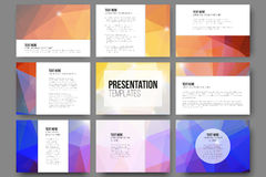 Set of 9 vector templates for presentation slides. Abstract triangle design vector background Stock Photos