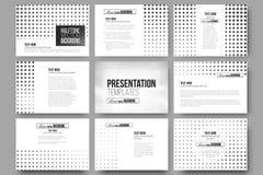 Set of 9 vector templates for presentation slides. Halftone background. Black dots on white Stock Images