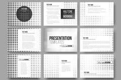 Set of 9 vector templates for presentation slides. Halftone background. Black dots on white Stock Photos