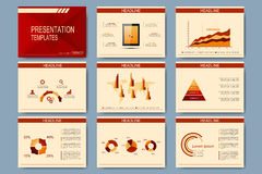 Set of vector templates for presentation slides. Modern business design with graph and charts.  Stock Illustration