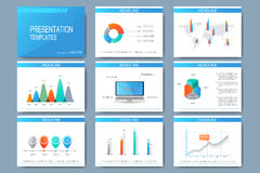 Set of vector templates for presentation slides. Modern business design with graph and charts Royalty Free Stock Image