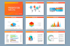 Set of vector templates for presentation slides. Modern business design with graph and charts Royalty Free Stock Photos