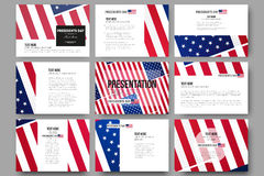 Set of 9 vector templates for presentation slides Royalty Free Stock Photography