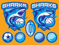 Set of vector templates for sports badges with sharks and balls.  Stock Image