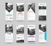 Set of vector templates of white roll-up banners with place for. Photo. Forms for business and advertising with different geometric elements of design vector illustration