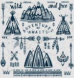 Set of vector on the theme of travel and adventure. royalty free stock photography