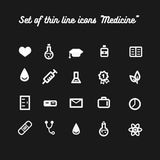Set vector thin icon healthcare Royalty Free Stock Image