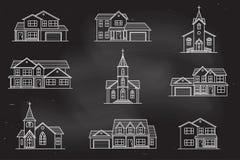 Set of vector thin line icon suburban american houses. Stock Photo
