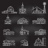 Set of vector thin line icon suburban american houses. Royalty Free Stock Image
