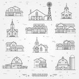 Set of vector thin line icon suburban american houses. Stock Image