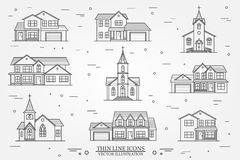 Set of vector thin line icon suburban american houses. For web Royalty Free Stock Image