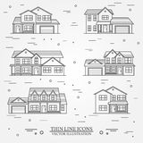 Set of vector thin line icon  suburban american houses. For web Royalty Free Stock Photography