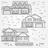 Set of vector thin line icon  suburban american houses. For web Stock Photo