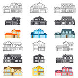 Set of vector thin line icon suburban american houses. For web Stock Images
