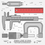 Set vector thin line icons caliper, ruler, pair of compass  and Stock Images