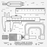 Set vector thin line icons caliper, ruler, pair of compass  and Royalty Free Stock Photography