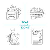 Set of vector thin line icons of handmade soap production royalty free stock photo