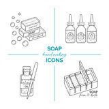 Set of vector thin line icons of handmade soap production stock photo