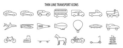 Set of Vector thine line transport icons. Eps 10 illustration stock illustration