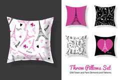 Set Of Vector Throw Pillows In Matching Unique Eifel Tower, Paris Prints and Repeat Patterns. Square Shape. Editable Royalty Free Stock Photo