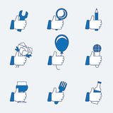 Set of vector thumbs up Royalty Free Stock Images