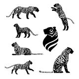 Set vector. Tiger with stripes, set of black silhouettes. Icons and illustrations of animals. Wild animals pattern vector illustration