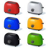 A set of the vector toasters of different color isolated on a white background Royalty Free Stock Image