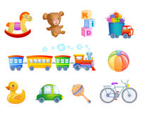Set of 10 vector toys for kid. Set of vector toys and accessories for a child Royalty Free Stock Image